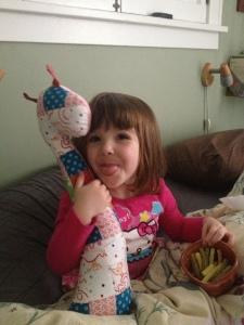 kiddo with giraffe